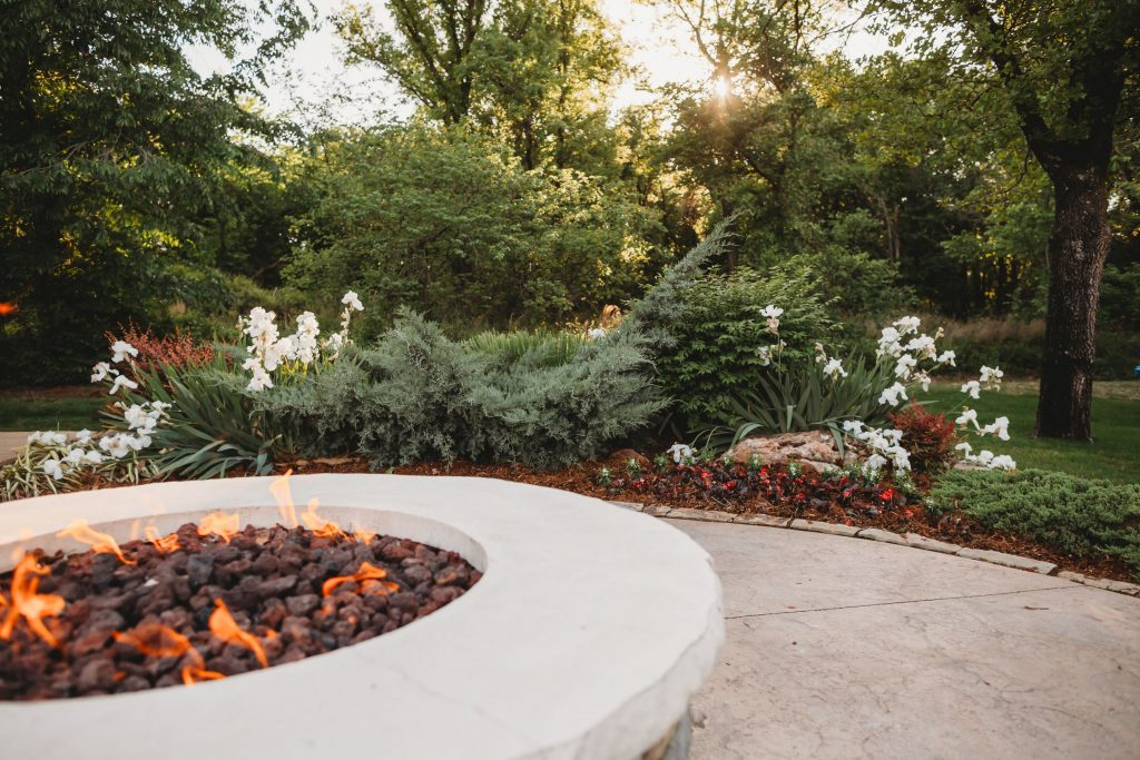 fire pit and landscape